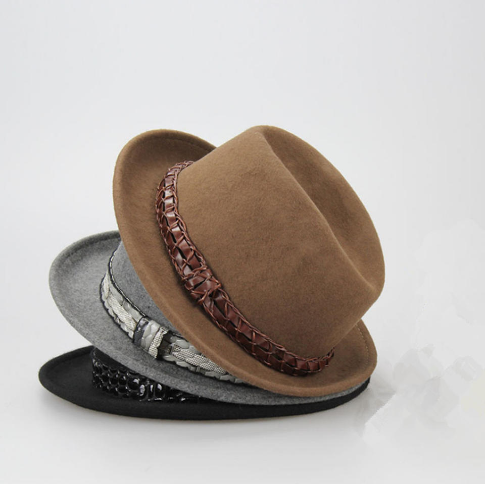 100% Wool Fedora Camel color mens felt hat