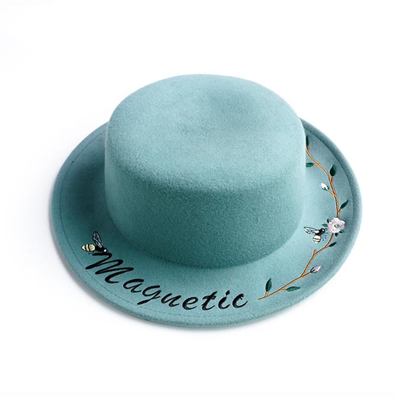 Custom plain cyan grey black ladies embroidered wide brim 100% wool felt boater hat