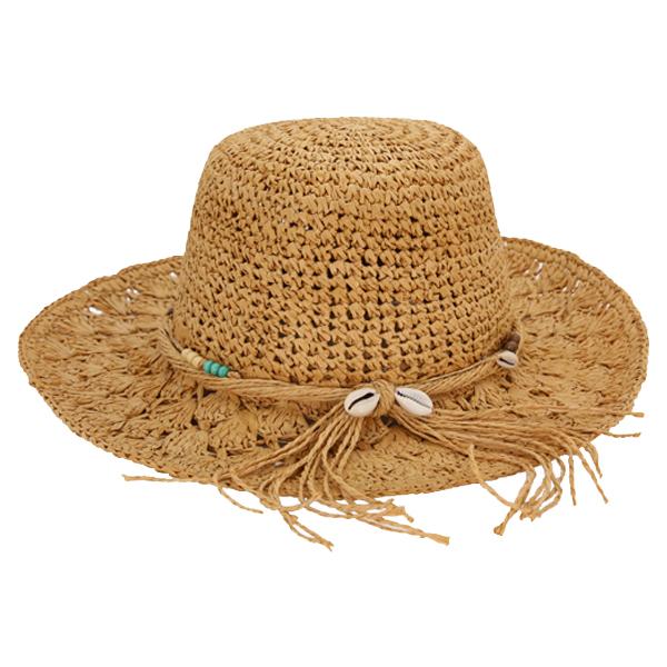Straw Crocheted Raffia fedora hat