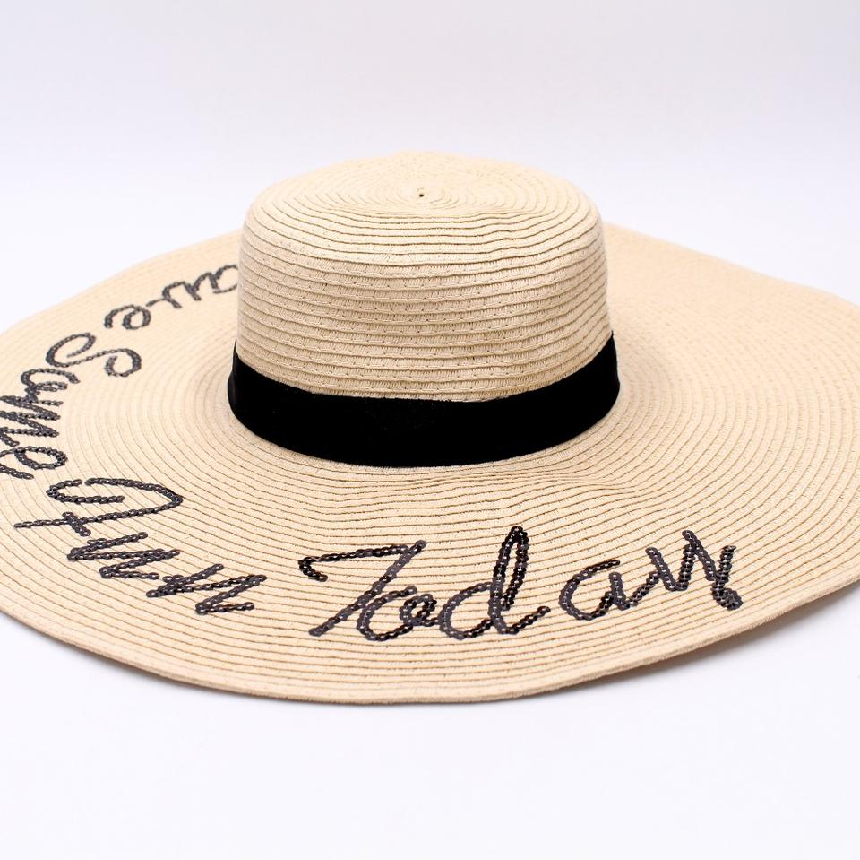 summer girl wide brim floppy hat with sequin words